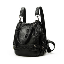 2017 Europe & United States new fashion retro PU leather woven shoulder bag backpack large capacity computer bag