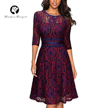Buy Vintage Lace Dress Women 2018 Floral Print Half Sleeve Line Elegant Midi Casual Robe Femme Party Vestidos Summer Bodycon Dress for $15.74 in AliExpress store