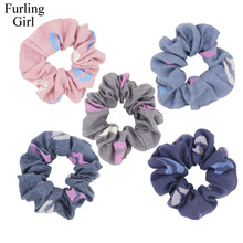 Furling Girl 1PC Lips Pattern Fabric Hair Scrunchies Ponytail Holder Hair ties Gum Hair Bands Headbands