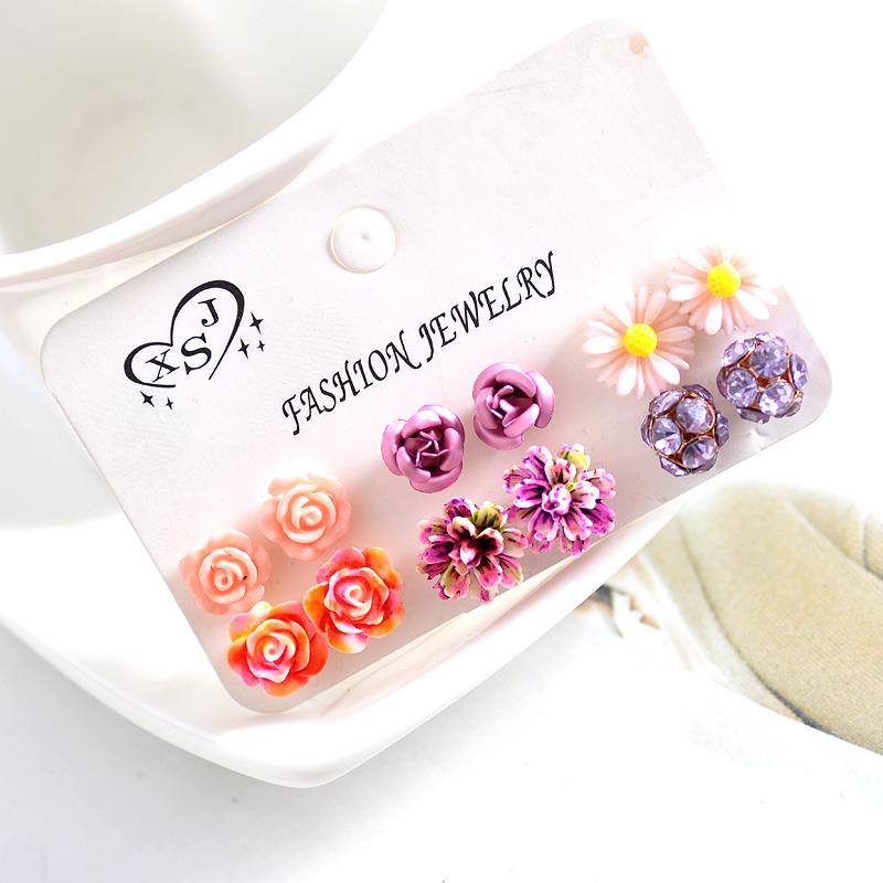 Hot new fashion women jewelry, girls birthday party flower shaped stud earrings, beautiful powder, purple yellow green Earrings 26