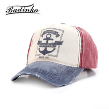 Badinka New Winte Vintage Anchor Printed Denim Baseball Cap Women Men Gorras Fitted Hip Hop Snapback Casquette Hats(China)