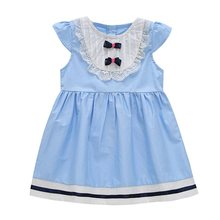New 2017 New Design Kids Baby Girls Sleeveless Navy Blue Bowknot Lace Sky Blue Princess Dress