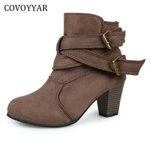 COVOYYAR 2017 Fashion Studded Ankle Boots Autumn Winter Buckle Decor Thick Heel Women Booties Slip On Women Shoes WBS719(China)