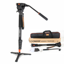 Coman KX3232 Aluminum Alloy Tripod Video Monopod with Fluid Pan Head and Unipod Holder for Canon Sony Nikon Panasonic GH5 DSLR