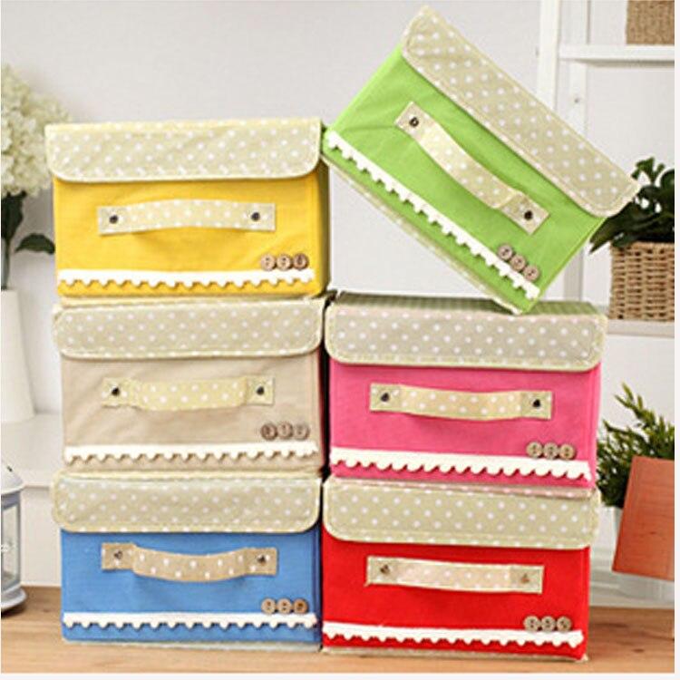 Hot Sale Folding Storage Box T button Woven Storage Box Japanese-style Buttoned Storage Box Household Storage Sorting Box #A3-S
