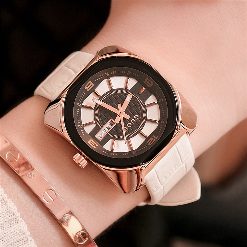 GUOU reloj mujer Square Women Watches Fashion Casual Waterproof Leather Quartz Watch Clock Ladies Dress Wristwatch With Calendar<br>