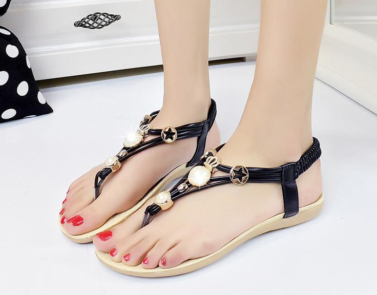 5..The new women sandals 2017 Bohemia summer sandals clip toe Beaded flat with foreign trade sandals beach women slippers <br><br>Aliexpress