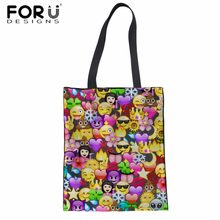 FORUDESIGNS Women Shoulder Bag Emoji Smiley Face Print Large Tote Bag for  Teenager Girls Casual Canvas 8040132dee