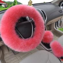 HOT 5 colors 3pcs/set Pink Wool plush car steering wheel cover sets spring fur leather handle sleeves