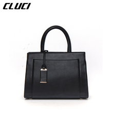 CLUCI Luxury Women's Handbags Fashion Split-leather Black/Green/Pink Tote Bag Shoulder Bags for Evening Party Bags High Quality