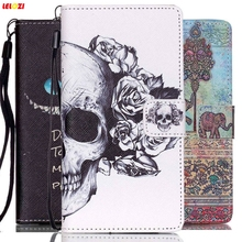 LELOZI Luxury Cool Print PU Leather Cell Phone Cover Cases For Huawei Ascend P8 Lite 2015 / P9 Lite With Card Slots + Hand Strap(China)