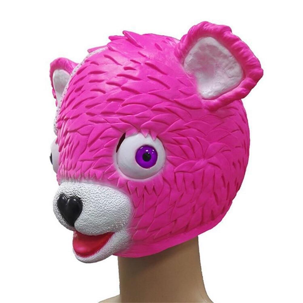 1 x cuddle team leader fortnite pink bear game mask melting face adult latex costume toy - fortnite pink bear head