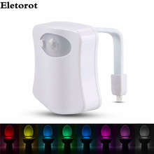 Sensor Toilet Light 8 Colors Human Motion Activated PIR Automatic RGB LED Toilet Nightlight LED Battery-operated Lamp