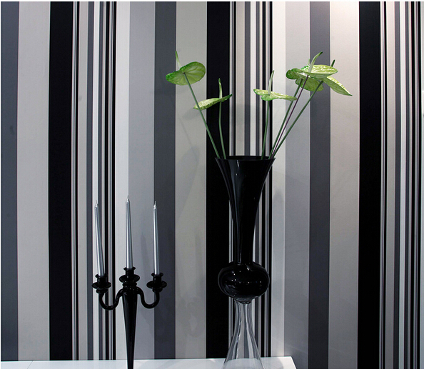 Hot selling wallpaper Black&amp;Gray&amp;white stripe style wallpapers Home Decor Wall paper DIY wallpaper papel de parede<br>