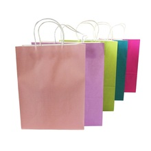 10 Pcs/lot Multifuntion Kraft Paper Bags With Handle Gift Party Holiday Recyclable Shopping Package Bags 33*25*12cm(China)