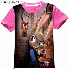 SAILEROAD 2 To 11Year 3D Printed Zootopia Girls Tops Tees T Shirts New Summer Baby Kids Girls Short Sleeve T Shirt For Clothes
