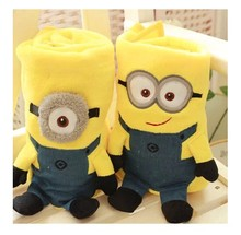 Super soft 1pc 82*71cm cute creative Despicable me Minions plush coral fleece little blanket high quality newborn baby gift toy