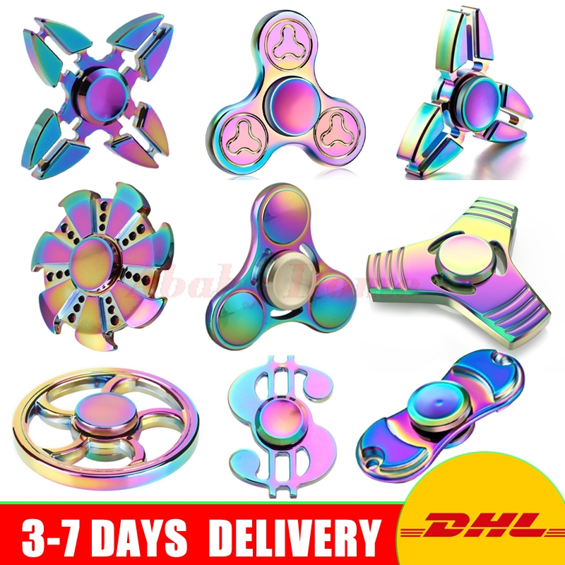 10 PCS/Lot Rainbow Brass Tri-Spinner Hand Spinner Metal Gold EDC Fidget Toy Sensory Fidget Spinners Relieve Stress Toy