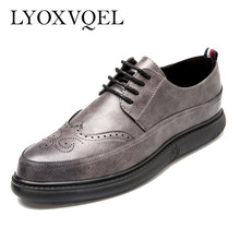 Classic Shoes Man OxfordS Vintage Lace-up Boutique British Carved Men's Brogue Shoes Business Dress Shoes M440(China)