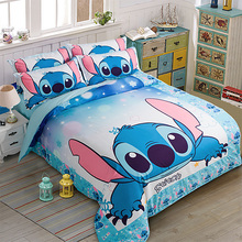 Stitch Printed Bedding Set Cartoon Bedspread Single Twin Full Queen King Size Bedclothes Children's Boy Bedroom Decor Blue Color(China)