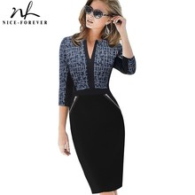 Nice-forever Office Women Front Zipper V Neck Plus Size Patchwork Vestidos Formal Bodycon Slim Work Business Casual Dress bty837(China)