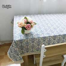 Urijk Tablecloth Lattice Cotton Linen Table Cloth Wedding Home Decoration Chinese Style Vintage Table Covers