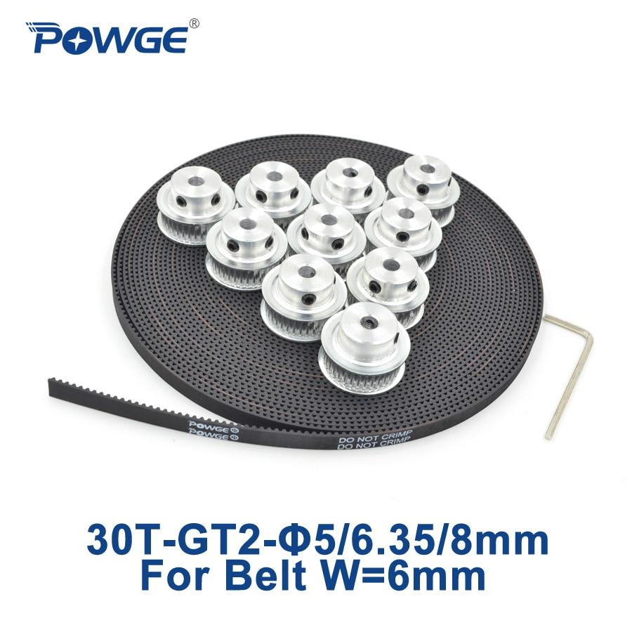 POWGE 10pcs 30 teeth GT2 Timing Pulley Bore 5mm 6.35mm 8mm + 10Meters width 6mm GT2 Timing Belt used in linear drive 30Teeth 30T<br>