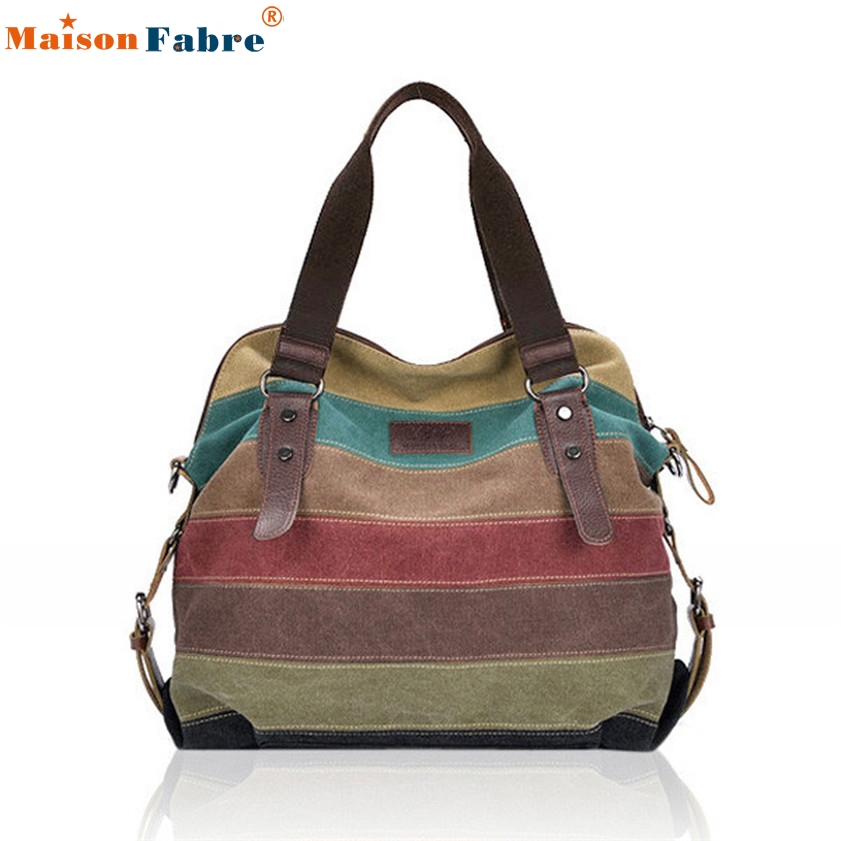 High quality  Women Canvas Striped Crossbody Bags Vintage Contrast Color Canvas Tote Handbags<br><br>Aliexpress