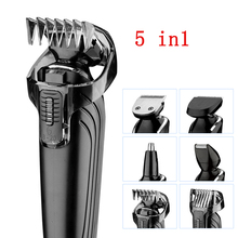 Kemei 5 in1 Rechargeable Waterproof Trimmer Hair Clipper Trimer Shaver Beard Nose for Men Family Use High Quality