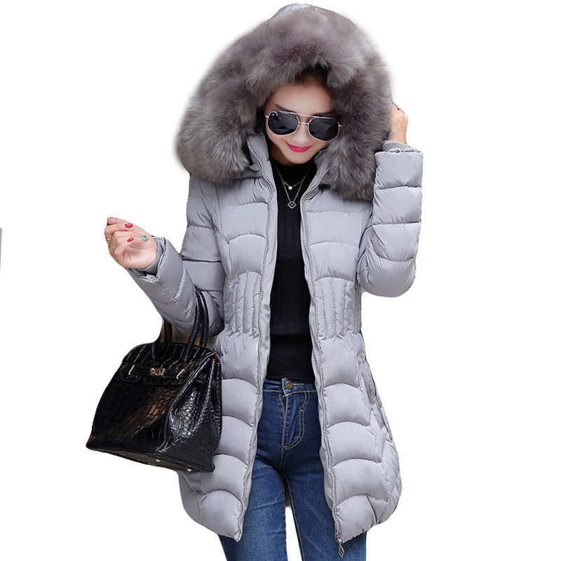2017 Female Long Winter Jacket Cotton Slim Overcoat Big Fur Hooded Elegant Casual Long Women Coat Parka Plus Size SS908Одежда и ак�е��уары<br><br><br>Aliexpress