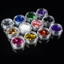 YZWLE 1 Bottle 3*2mm Nail Sequins Designs 12 Colors Available Nail Glitter Laser Sparkling Nail Art Sequins Decoration(China)