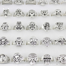 25pcs Skull Skeleton Gothic Alloy Rings Punk style rings for mens womens Wholesale Jewelry lots(China)