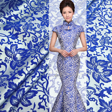 Free shipping! Blue and white jacquard fashion fabrics crisp dress jacket DIY fabric wholesale high quality jacquard cloth