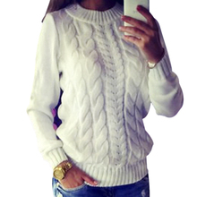 VESTLINDA White Sweater Women Autumn Knitted Sweater Pullovers Twist Pull Women Warm Sweater Ladies Pullovers Christmas Tops