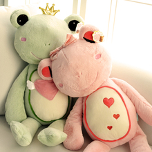 New Big 55cm Kids Toys Couple Frog Prince Plush Toy Cute Frog Soft Stuffed Animals Dolls Pink & Green Best Gifts For Lovers