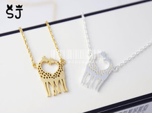 5PCS- N019 Cute Long Deer Necklace Heart Loving Giraffes Necklace Lovely Twin Giraffe Necklaces Animal Jewelry for Couples
