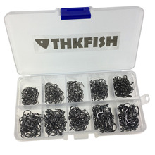 500 Pcs 3 #-12 # Black Fishing Hooks Fishhook Comes with Retail Carrying Box Fishing Tackle set(China)