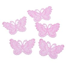 FUNIQUE 10PCs Lace Butterfly Sew On Patches For Clothing Embroidered Appliques DIY Fabric Badges Apparel Stickers Accessories