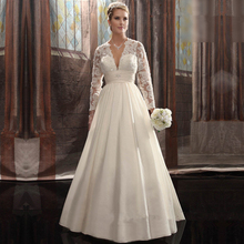 Elegant A line Deep V neck Long Sleeves Appliques Wedding Gowns vestido de noiva dois em um 2017 Plus Size Wedding Dress China