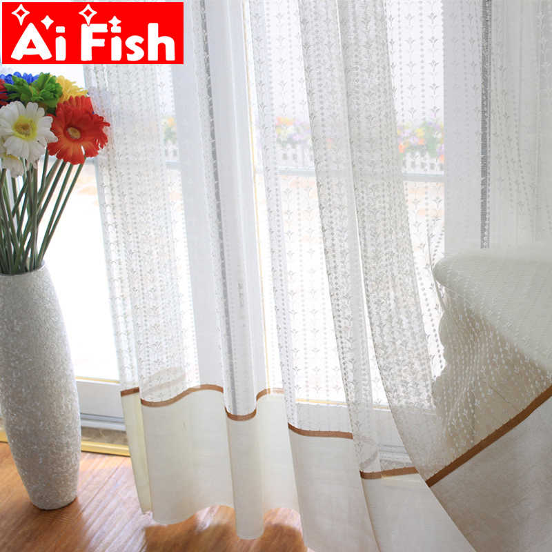 Off White Vertical Strips Small Flower Tulle Panel Pastoral Lace Gauze Window Sheer Mesh Fabric Curtains For living room MY129#4