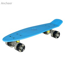 Ancheer 22 inch Cruiser Style Skateboard Fun Complete Deck Mini Plastic Retro Skate Board Longboard with LED Flashing Light(China)