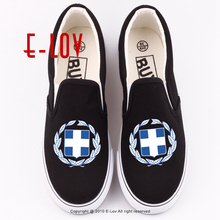E-LOV Hot Sale Printing Greece Hellenic Canvas Shoes Casual Women Grecian Hellenes Letters Printed Shoe Greek Flat Loafers(China)