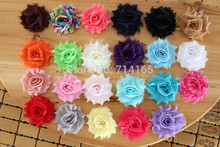 Mini Shabby Frayed Flowers - 1.5''Chiffon Fabric fascinator hair accessories 23 colors 100pcs/lot