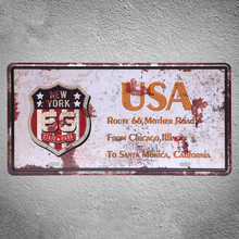 USA MOTHER ROAD ROUTE66 CAR LISENCE CAR PLATE Vintage Tin Sign Bar pub home Wall Decor Retro Metal Art Poster