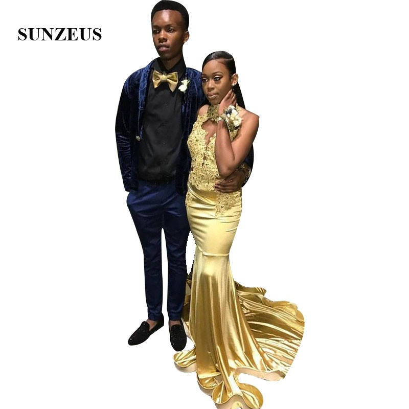 Gold Party Dresses 2019 Halter Neck Sexy Backless Summer Prom Gowns Long Satin Black Girls Gala Dress Appliques Mermaid Robe