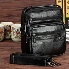 New Men Genuine Leather Cowhide Crossbody Messenger Shoulder Bag Fashion Business Mobile Phone Cigarette Case Coin Purse Handbag