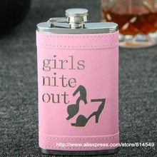 "Pink color or blue color ""girl nite out "" liquor flask ,stainless steel hip flask 6oz(China)"