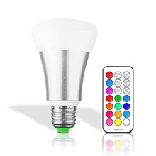 10W E27 LED Bulb Lamp RGB Stage Light 12 Colors Led Lights for Home Remote Control Brightness Timing AC 85-265V RGB + Cool White(China)