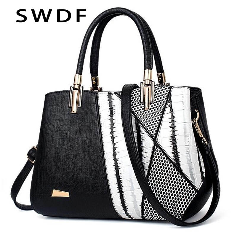 SWDF 2018 Womens Shoulder Bag PU Women Zipper Handbags Bucket Bag Ladies Hand Bags Casual Big Female Floral Tote Bag for Ipad<br>