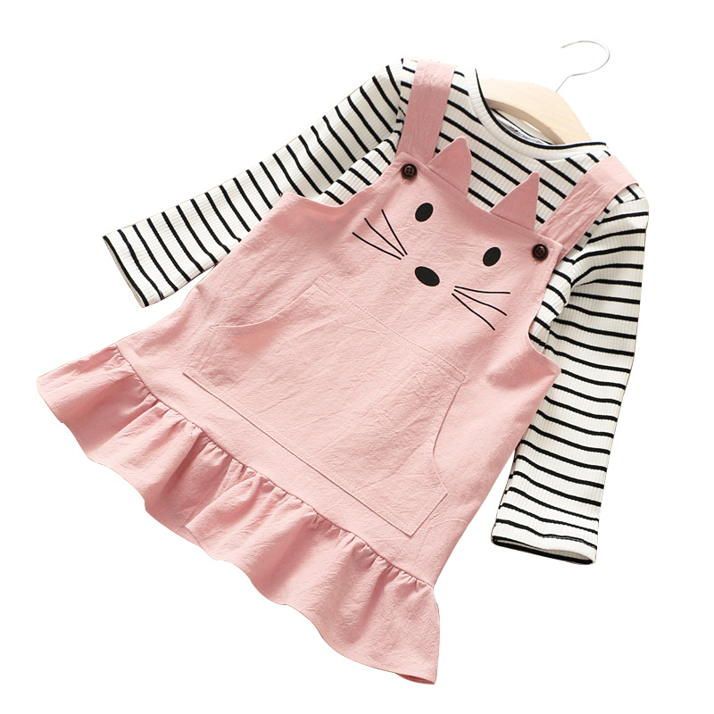 Spring Winter Girls Dress 2018 Casual Long Sleeves Stripe Kids T-shirt+Vest Dress 2 Pieces Children Clothing Set<br>